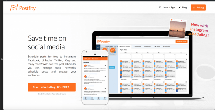 Print screen presenting the home page of Postify, a SaaS tool, which is offering a special discount for Black Friday and Cyber Monday.