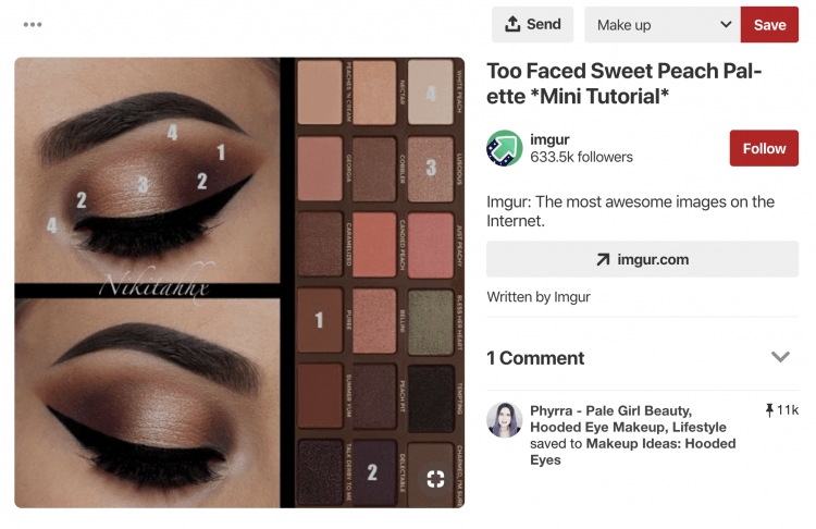 a print screen of a social media campaign for a beauty brand Too Faced on Pinterest