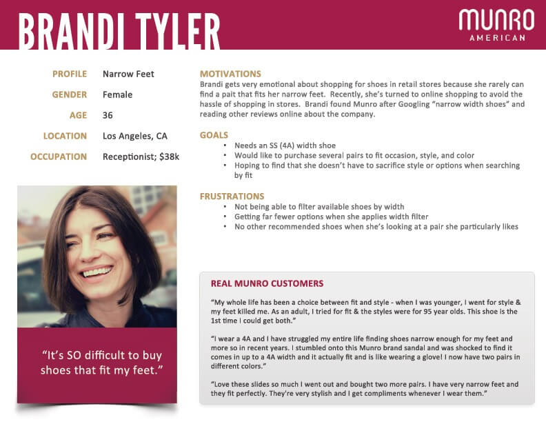 An example of a B2C customer persona