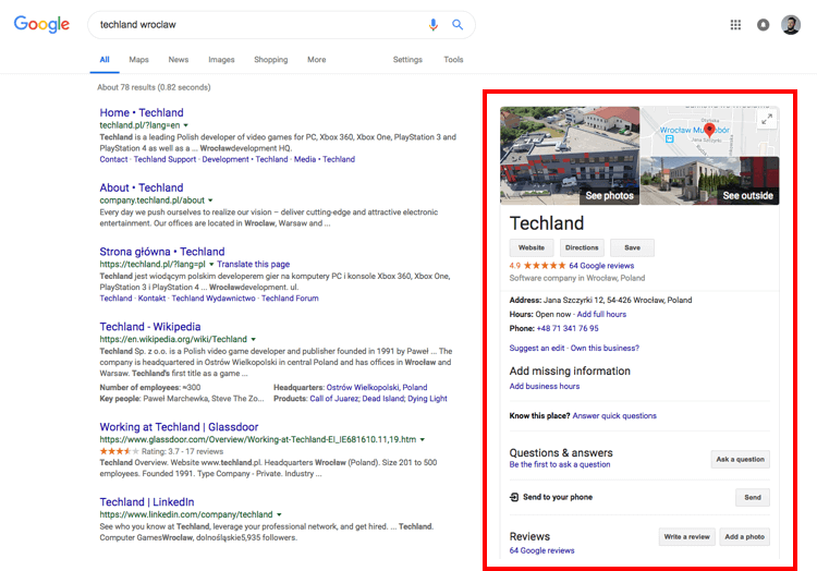 Search results of Techland showing its localization in Google Maps