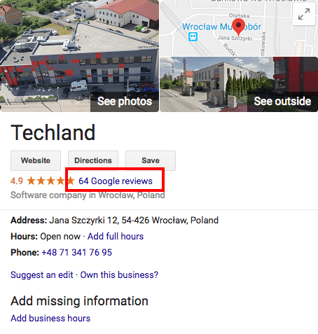 Info box about Techland in Google search results