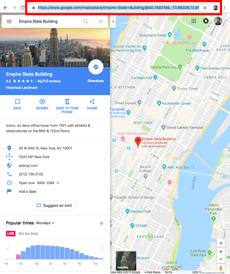A screenshot of Google maps showing Empire State Building