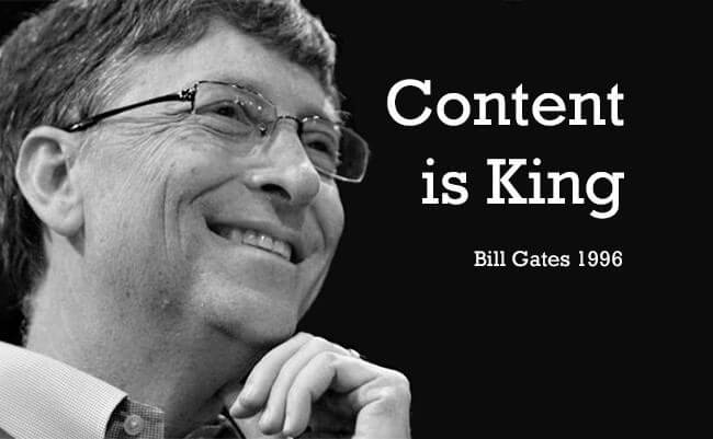 An image depicting Bill Gates and the content is king quote