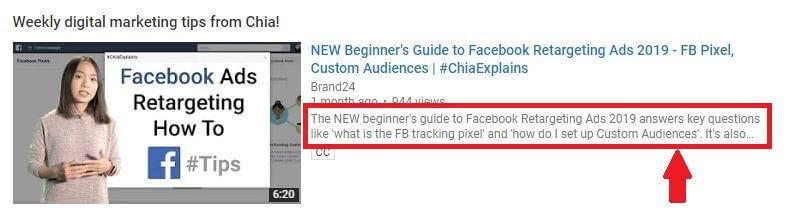 image containing excerpt from YT description of #ChiaExplains Facebook Retargeting Ads