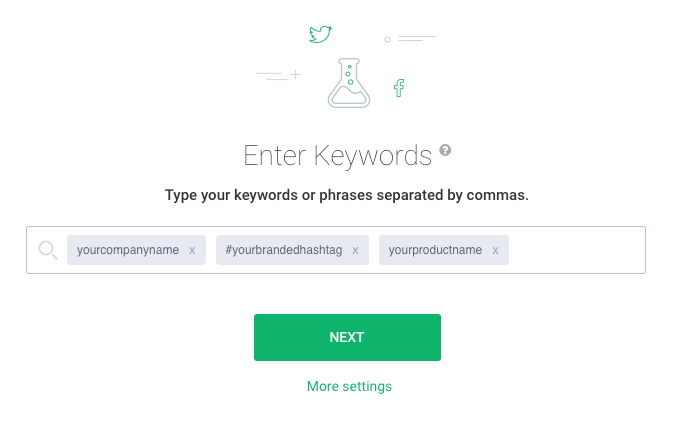 project creation wizard where you can enter keywords you'd like to monitor on the Internet