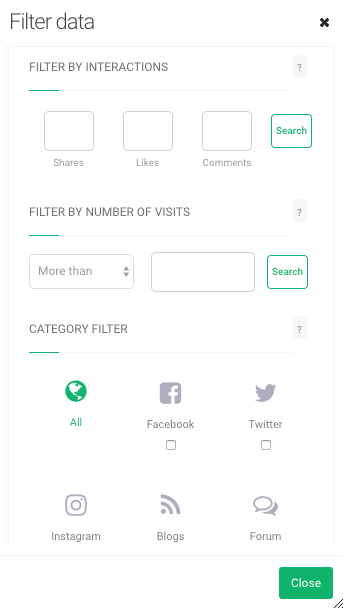 print screen from Brand24 where you can fill in the number of interactions filter
