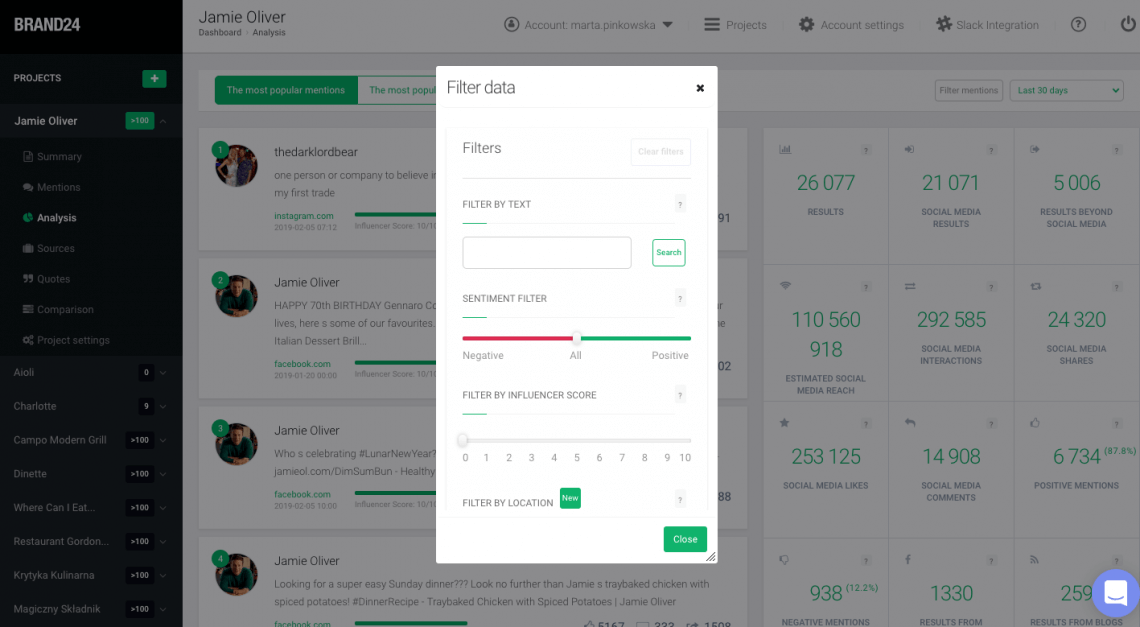 print screen from Brand24 where you can choose the filters you'd like to apply to your project