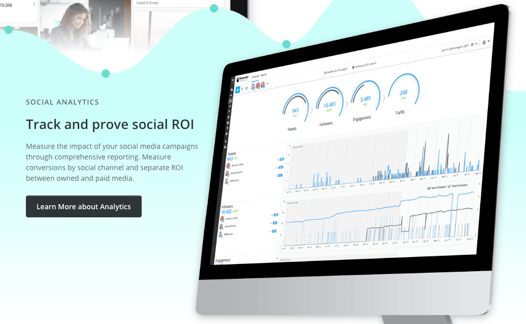 a print screen showing main page of Hootsuite, a Twitter Analytics tool