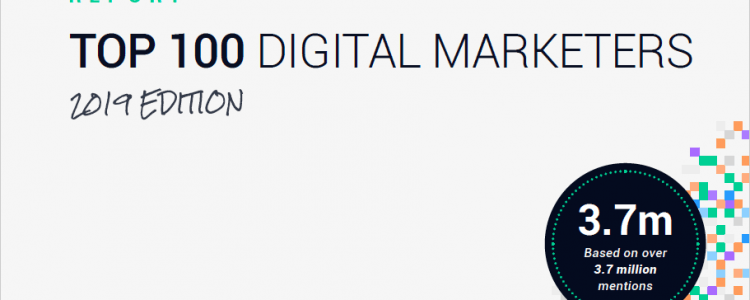 Top 100 digital marketers 2019 report cover.