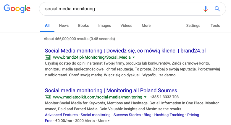 print screen of google search results showing paid results for your competitors analysis