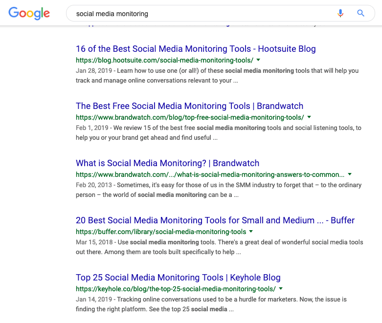print screen of Google search results showing the companies that are your potential competitors you should analyse further