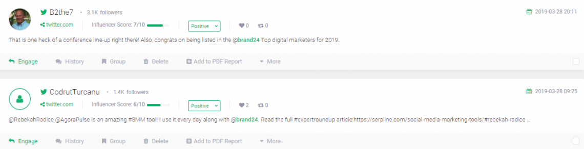 Examples of positive sentiment inside Brand24 dashboard