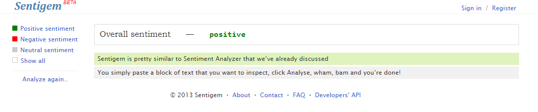 An example of sentiment analysis inside Sentigem
