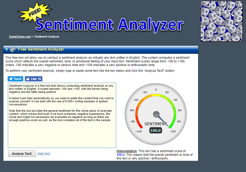 A screenshot of sentiment analysis inside Sentiment Analyzer