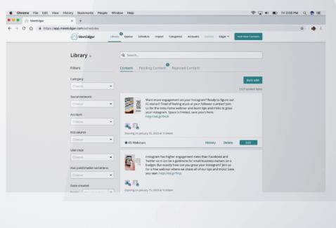 a print screen from a social media management tool called MeetEdgar