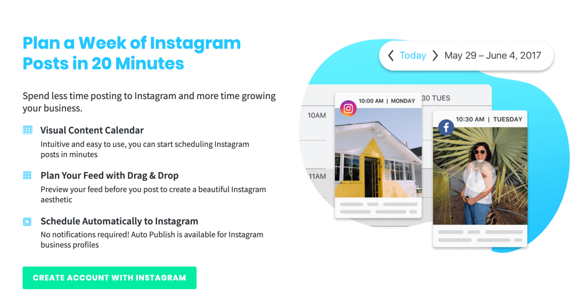 print screen from Later, a social media marketing tool for Instagram