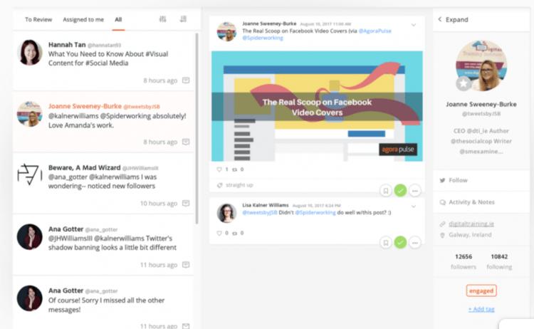 print screen from Agora Pulse, a brand reputation monitoring tool