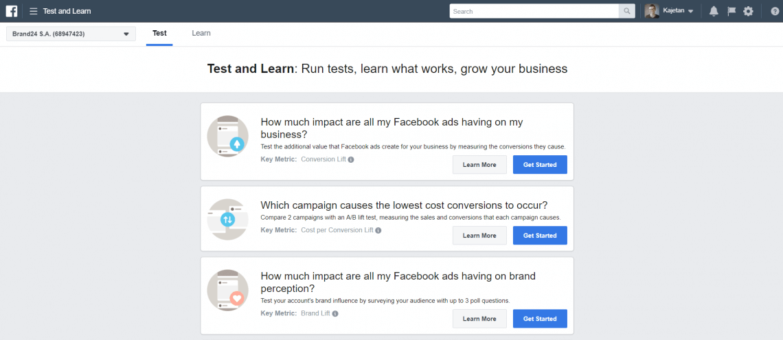 Facebook Test and Learn options