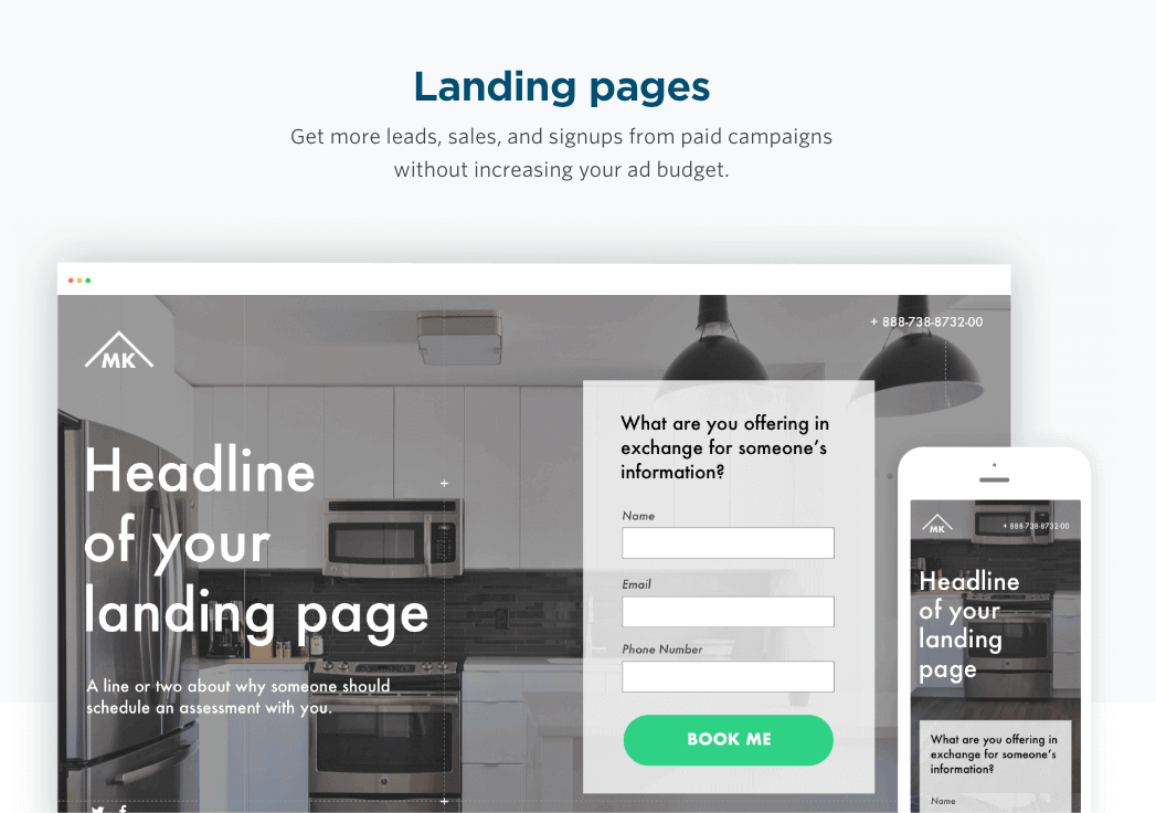 a print screen from Unbounce, a top digital marketing tool