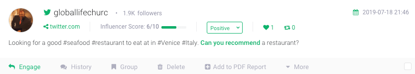 a social mention where someone asks for a restaurant recommmendation