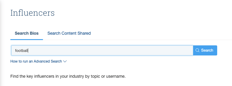 Searching for influencers with keywords in the BuzzSumo application.