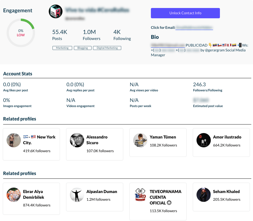 Detail data about the specific influencer collected by NinjaOutreach.
