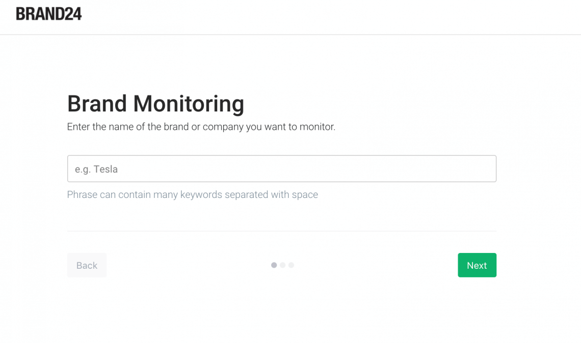 brand reputation monitoring project creation tool where you can enter the keywords you'd like to track