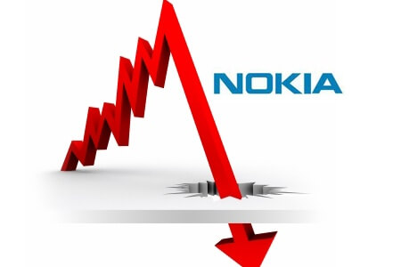 Illustration showing the decline of Nokia in the mobile phone market.