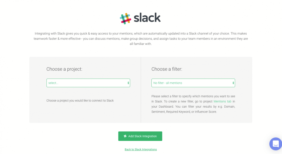 A panel where you can integrate your brand reputation monitoring project with a Slack channel