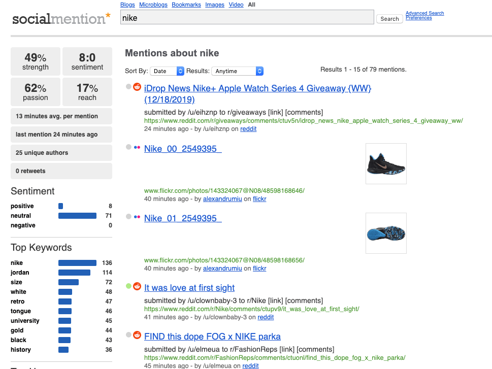 print screen from Social Mention, a top brand monitoring tool