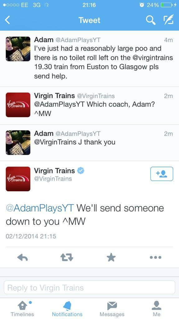 Screen from conversation on twitter between Virgin Trains and their client, where Virgin trains offered him help when he run out of toilet paper.