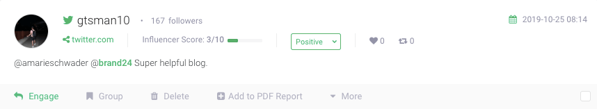 example of positive mention filtered by sentiment analysis filter in brand24