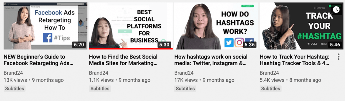 print screen from a YouTube channel showing thumbnails