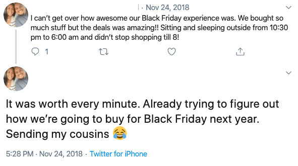 social mentions regarding Black Friday deals