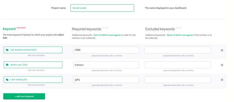 print screen from Brand24 where you can enter additional keywords for your project