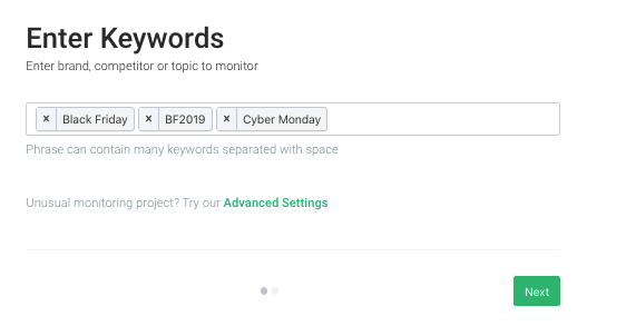 project creation wizard in brand24 where you can enter the keywords related to black friday deals