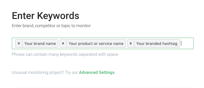 print screen presenting how to choose and type keywords in media monitoring tool brand24