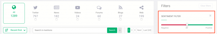 Brand24 dashboard with collected mentions