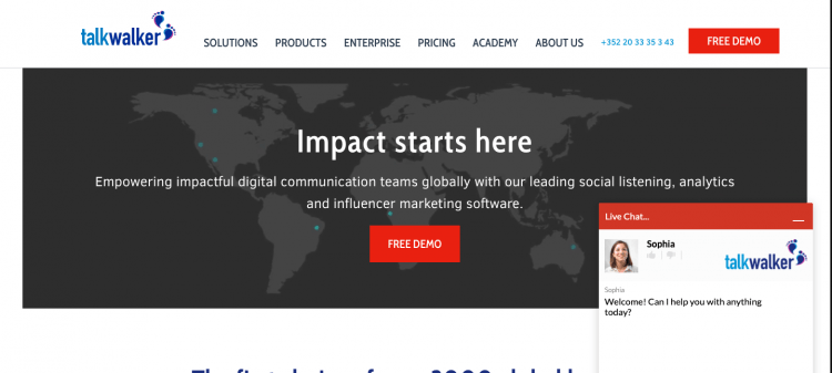 print screen from Talkwalker, a media monitoring tool