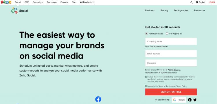 print screen from Zoho Social, a media monitoring tool