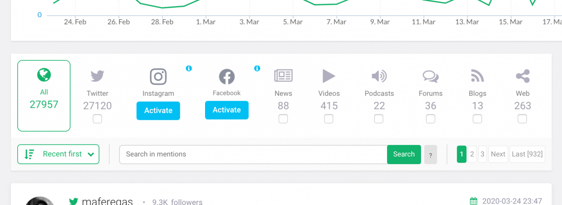 an example of dashboard where you can search for instagram posts by date