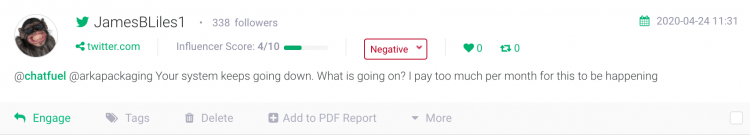 an example of negative review, an insight you could use while performing a competitive analysis