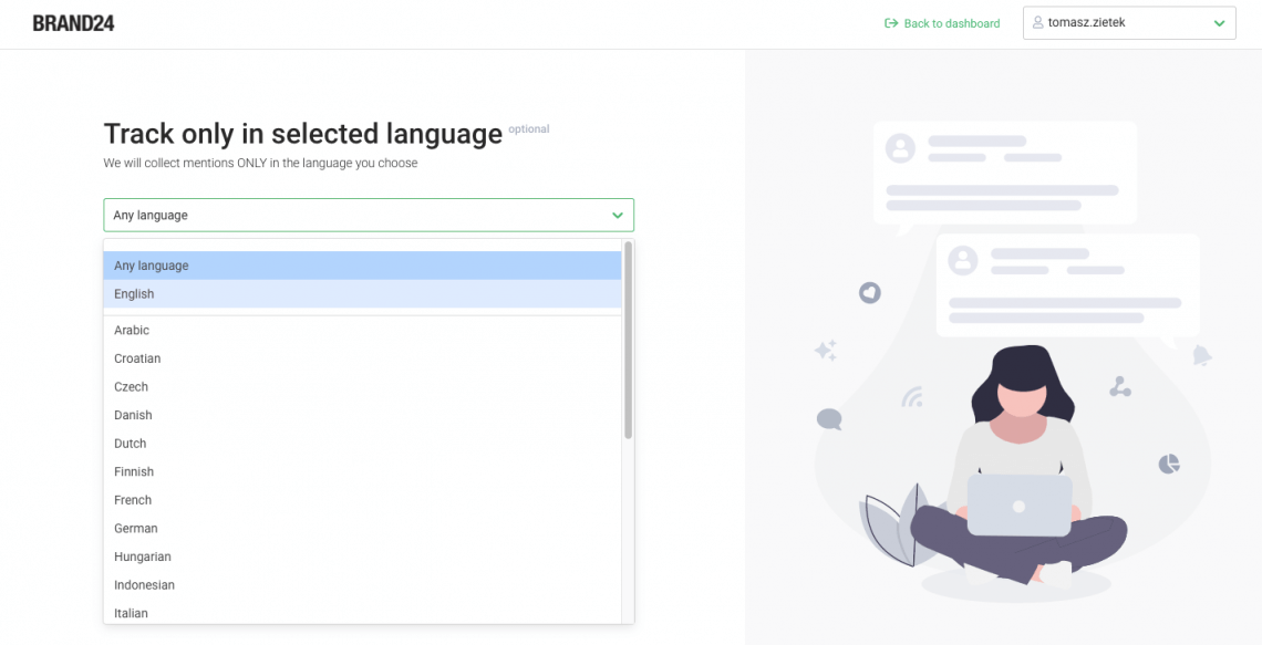 An image from Brand24 project creator showing language options