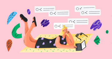 An illustration showing a woman looking for unlinked brand mentions