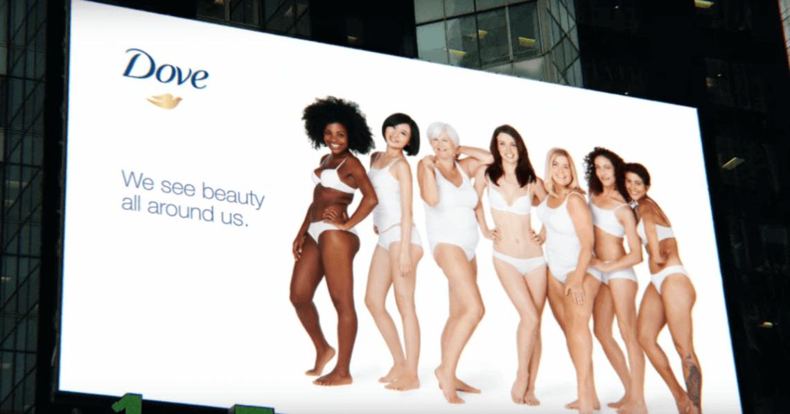 Dove billboard showing a group of women posing.