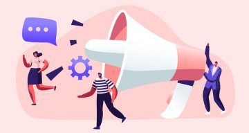 Public Relations and Affairs, Communication, Pr Agency Marketing Team Work with Huge Megaphone, Alert Advertising, Propaganda, Speech Bubbles, Social Media Promotion. Cartoon Flat Vector Illustration
