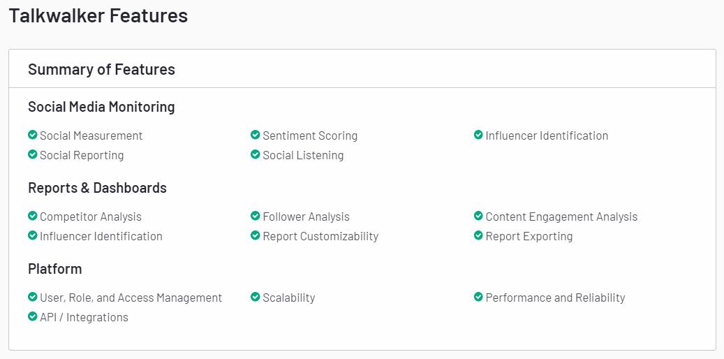 A screenshot of Talkwalker Features