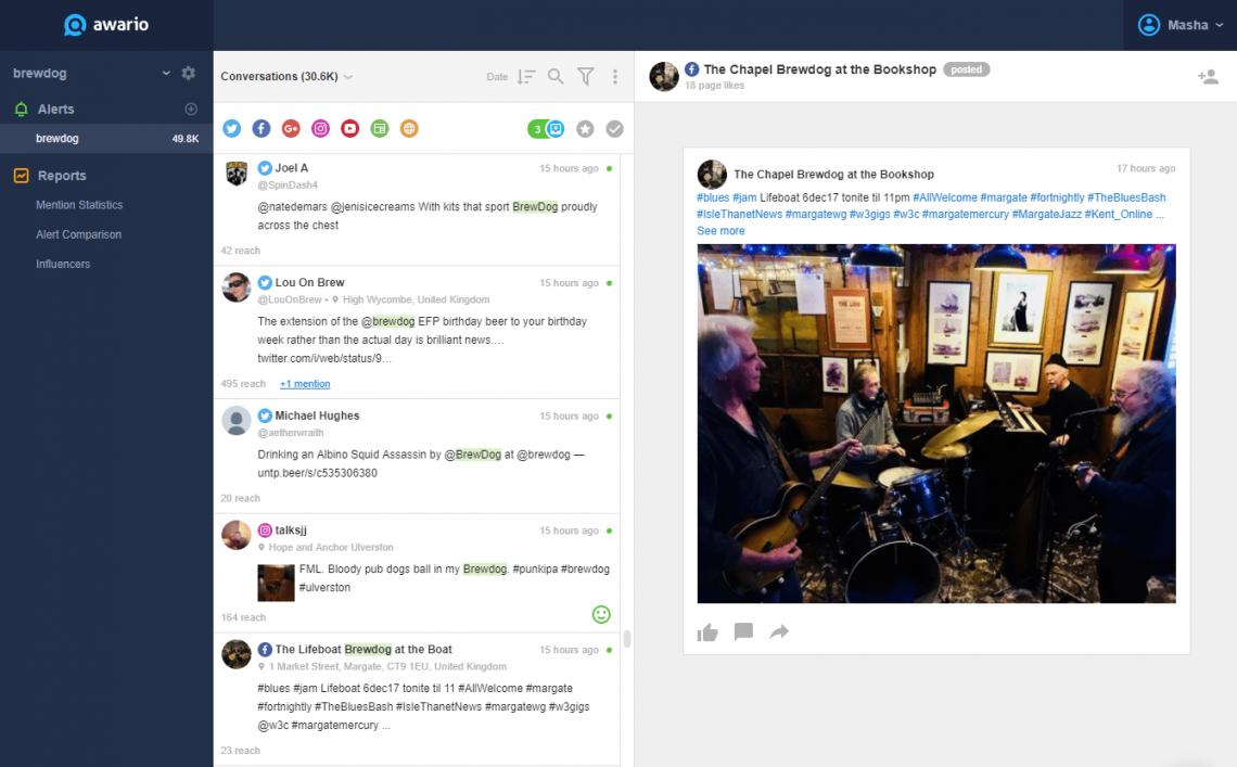 A screenshot showing Awario dashboard