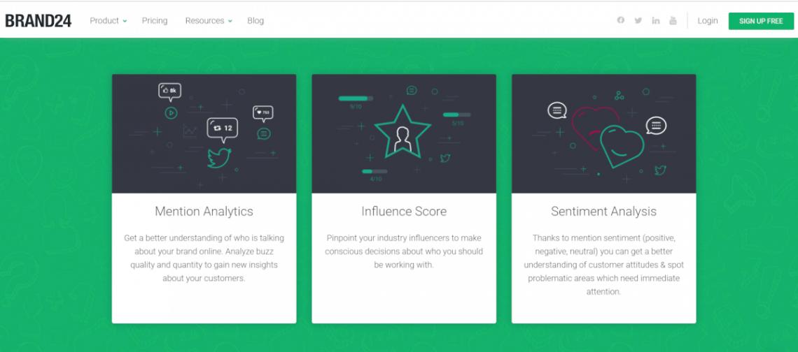 A screenshot showing Brand24 features