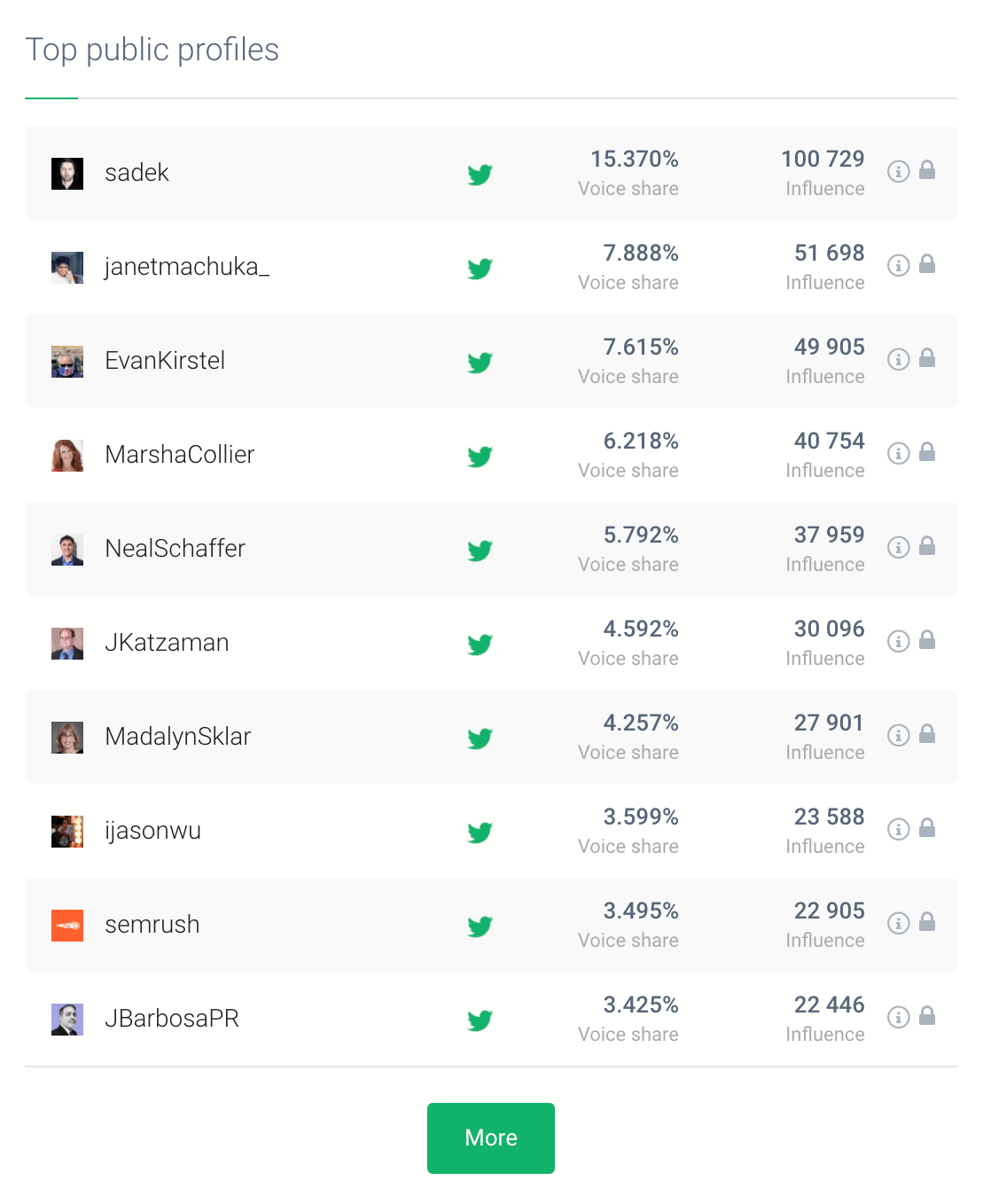 print screen showing popular social media accounts with brand awareness metrics, such as the share of voice and influence